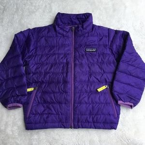 Patagonia Full Zip Girls Down Jacket Purple Sz 3T